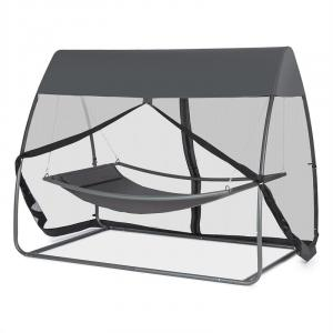 Bel Air hangmat 200x130 cm stalen frame muggennet antraciet