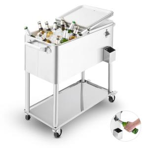 Springbreak 2000 Beverage Cart Terrace Cooler 80l Stainless Steel Silver