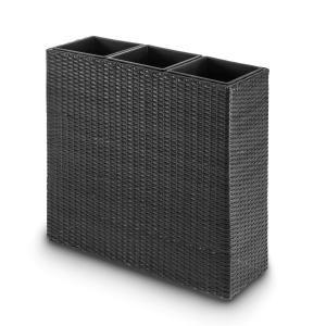 Triumflor växtfat 3-delar 80x78x29cm polyrattan antracit Grå