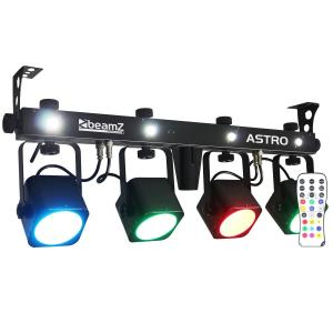 LED ASTRO PARBAR Kit 4 Vie COB LED 4 x 10W DMX incl. Pedale