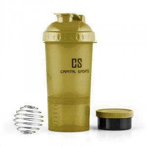 Shakster Shaker per Bevande Proteiche 600ml Sfera per Mixare Porta Pillole Verde