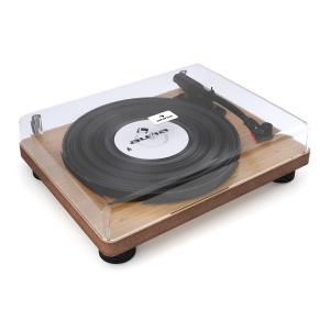 TT Classic WD Retro Record Player USB Line Out Speaker Wood Veneer Brown