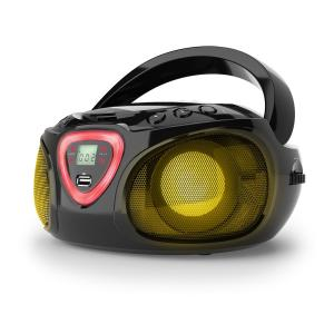 Roadie boombox CD USB MP3 MW/FM-radio bluetooth 2.1 LED-värileikki musta musta