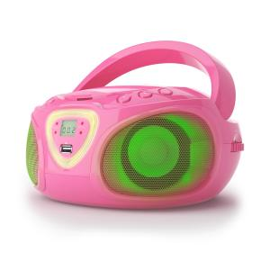 Roadie boombox CD USB MP3 MW/FM-radio bluetooth 2.1 LED-värileikki vaaleanpunainen pinkki