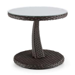 Tabula Side Table 50cm Glass Wicker Aluminum Bicolor Brown Brown
