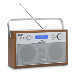 Akkord Digitalradio portabel DAB+/PLL-UKW Radio Alarm LCD walnuss Walnuss