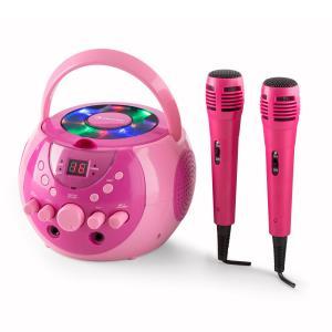 SingSing kannettava karaokelaitteisto LED paristokäyttö 2 x mikrofoni pinkki