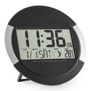 Clockwork cyfrowy zegar ścienny sterowany radiowo termometr kalendarz faza księżyca podpórka