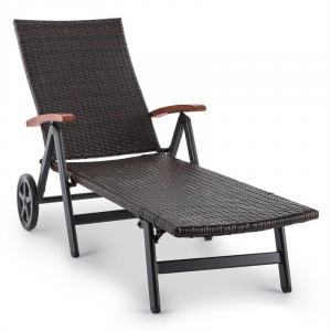 Korsika Folding Lounger with Armrests 70x68x200 cm Polyrattan Aluminum