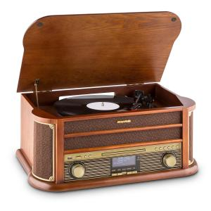 Belle Epoque 1908 DAB Retro-Stereoinstallatie Platenspeler DAB+ Bluetooth Bruin | CD-Player / Bluetooth / DAB Radio