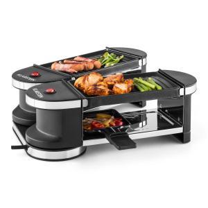 Tenderloin Minigrill- raclette 600W 360° 2 plaques grill plaque de barbecue | 4 poêlons de raclette