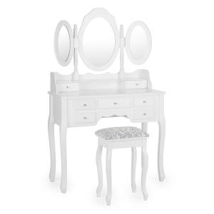 Miss Charlotte Dressing Table 3 Mirrors 90x144.5x40cm incl. Stool