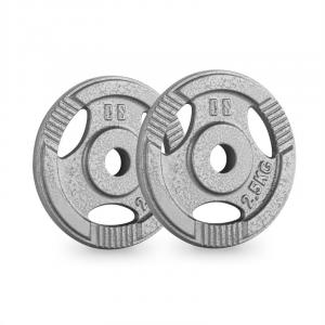 IP3H 2.5 Weight Plates Pair 30 mm 2.5 kg Grip Holes Grey 2x 2.5 kg