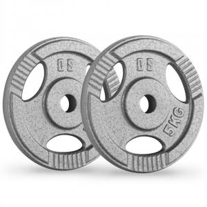 IP3H 5 Weight Plates Pair 30 mm 5 kg Grip Holes Grey 2x 5 kg