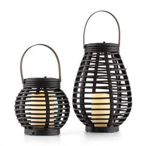 Lucid Twins Zonne-energieverlichting Zonne-energielampen Set Polyrotan