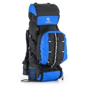 Almer Sac à dos randonnée trekking 80L 40x80x35cm bleu & noir Bleu