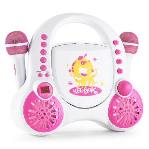 Rockpocket Children's Karaoke System CD AUX 2x Microphone Sticker Set White White