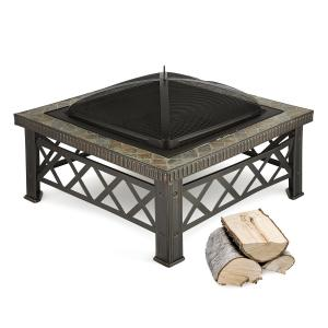 Merano Fire Bowl 75x75 cm Grill Tile Design Steel Blackened