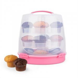 Blauwkapje Taartstolp Gebaksbox Cupcake-Carrier Ø26cm pink