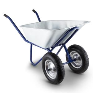 Waldeck Heavyload Wheelbarrow 120l 320kg Garden Cart 2-Wheel Steel Blue Blue