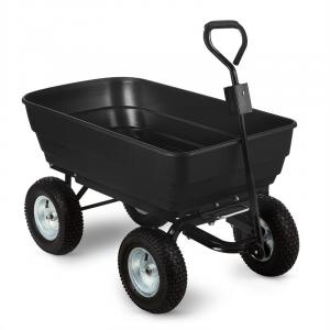 Black Elephant Garden Wagon Trolley 125 l 400 kg Tiltable Black Black