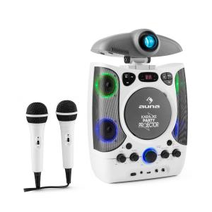2 in 1 KaraProjectura Karaoke Machine LCD Beamer Projector LED Light Show USB 2 Mics MP3 CD White White