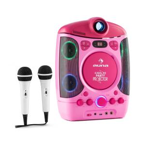 Kara Projectura 2 in 1 Karaoke Machine LCD Beamer projector LED lightshow usb pink MP3 2 Mics CD Pink