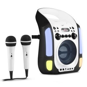 Kara Illumina Karaoke Machine CD USB MP3 LED Light Show 2 x Microphones Portable black Black