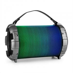Dr. Beat LED 2.1 Bluetooth Speaker Battery-operated Multicolor LED USB SD 40 W Max MP3 FM VHF 2 X 6.3 MIC IN Silver