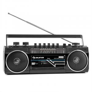 Duke Retro Boombox Rádio FM USB SD Bluetooth K7 player portátil Preto