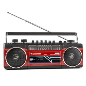 Duke Retro Boombox Portable Cassette player USB SD Bluetooth FM Radio Red