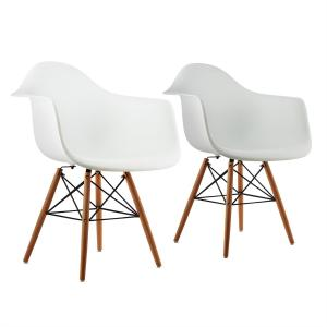 Bellagio Shell Chair 2-piece Set Retro PP Shell Birch Wood white White