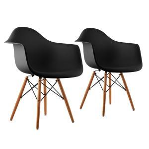 Bellagio Shell Chair Set of 2 Retro PP Shell Birchwood Black Black