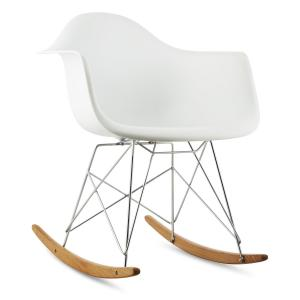 Aurel Rocking Chair Retro PP Shell Birchwood White White
