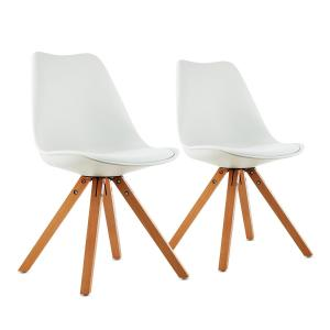 Onassis Shell Chair Set of 2 Retro Cushion Birchwood White White