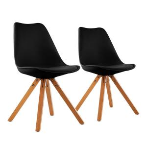 Onassis Shell Chair Set of 2 Retro Cushion Birchwood Black Black