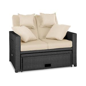 Komfortzone Rattan Lounge Sofa Two-seater Polyrattan Foldable Tables Grey Grey
