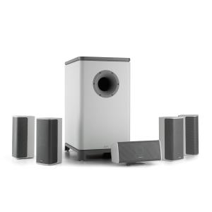 Ambience 5.1-Surround-Sound-System blanco con 30m de cable de altavoz Blanco