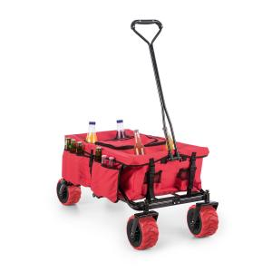 Red Devil Hand Cart Wagon Trolley Foldable 68kg Side Pockets Red Red