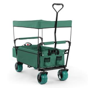 The Green Supreme Hand Cart Hand Wagon 68 kg Sun Awning Green