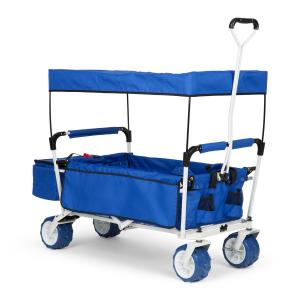The Blue Supreme Hand Cart Hand Wagon 68 kg Sun Awning Blue