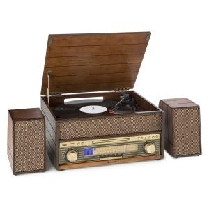 Belle Epoque 1909 Retro Audiosystem Skivspelare Kassett Bluetooth USB CD AUX
