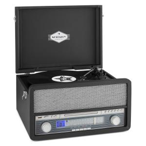 Belle Epoque 1907 sistema de audio retro toca discos casete Bluetooth USB Negro