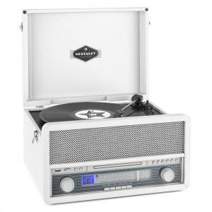Belle Epoque 1907 Retro Audio System Record Player Cassette Bluetooth USB CD AUX White