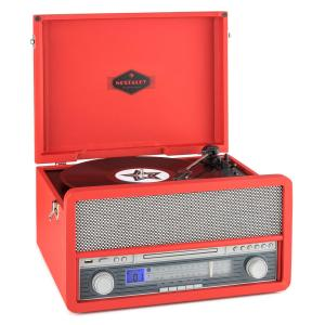 Belle Epoque 1907 Retro Audio System Record Player Bluetooth Cassette USB CD AUX Red