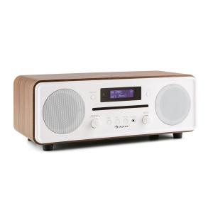 Melodia CD DAB+/FM Radio de mesa Reproductor de CD Bluetooth Alarma Repetición marrón Nogal