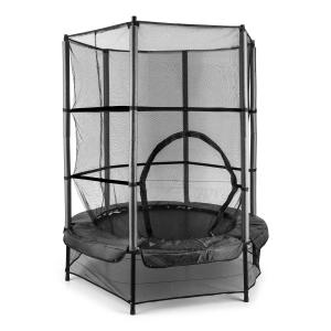 Rocketkid trampoliini 140 cm turvaverkko sisäpuolella benjiköysijousitus musta musta