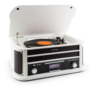 Belle Epoque 1908 DAB Chaîne stéréo Rétro Platine vinyle DAB+ Bluetooth FM USB CD MP3 blanc Blanc | CD-Player / Bluetooth / DAB Radio