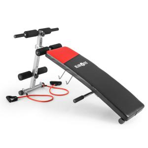 Hiup sit-up bench buiktrainer trainingsbank met expander klapbaar - kunstleer zwart/rood