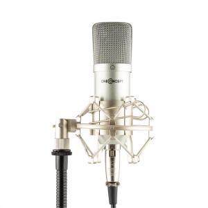 Mic-700 Microfone de Estúdio Ø34mm Uni Aranha Filtro Anti Pop XLR Prateado Prateado